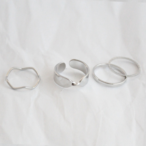 Ribbon wave rings set