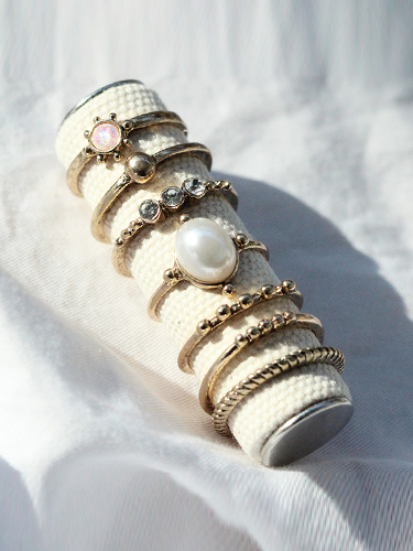 Pearl crystal rings set / 7 rings