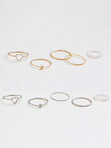 Simple heart rings set