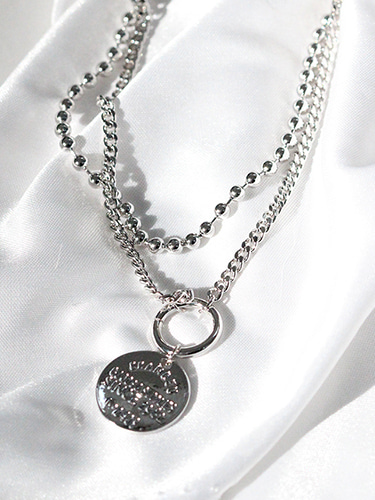 Coin circle layered necklace / 2necklaces